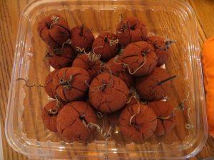 Apple sauce cinnamon pumpkins with curly stems.