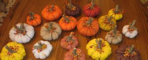 Lots of fabric pumpkins for fall decorating.