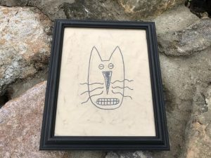 """Great primitive fall decorating idea! Cat lovers, rustic Halloween decoration. Primitive machine embroidered Cat Face picture in a painted black, wooden frame, glass covered. Frame size is approximately 9 1/2 x 11 1/2"""" inches and picture is 7 1/2 x 9 1/2"""" inches. All items are USA made in a smoke-free home."""