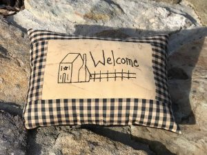 Primitive Saltbox House Welcome Pillow
