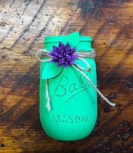 flower on painted jar