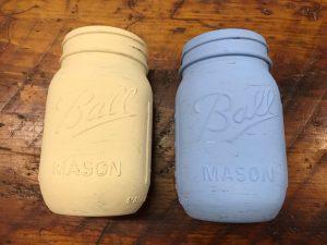 2 painted jars